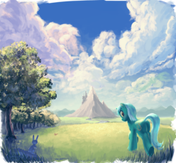 Size: 2465x2279 | Tagged: safe, artist:hunternif, lyra heartstrings, butterfly, pony, rabbit, unicorn, canterlot, cloud, cloudy, female, forest, grass, looking at you, looking back, mare, meadow, mountain, raised hoof, road, scenery, scenery porn, sky, smiling, solo, tree, underhoof