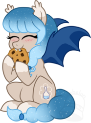 Size: 520x700 | Tagged: safe, artist:tambelon, oc, oc only, oc:glimmer palette, bat pony, pony, cookie, cute, eating, fangs, nibbling, ocbetes, solo, watermark
