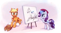 Size: 4500x2424 | Tagged: safe, artist:hunternif, applejack, rarity, earth pony, horse, pony, unicorn, beret, blushing, canvas, cowboy hat, cute, draw me like one of your french girls, drawing, female, hat, jackabetes, lesbian, magic, mare, painting, pencil, pillow, prone, rarijack, realistic, shipping, stetson, style emulation, telekinesis