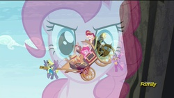 Size: 1920x1080   Tagged: safe, screencap, caboose, cherry jubilee, cloudchaser, evening star, full steam, john bull, pinkie pie, promontory, stormfeather, sugar cookie, earth pony, pegasus, pony, party pooped, carrying, cliff, discovery family logo, falling, female, flashback, flying, frown, gritted teeth, hat, male, mare, open mouth, smiling, spread wings, stagecoach, stallion, wide eyes, wings, wonderbolts