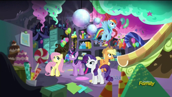 Size: 1920x1080 | Tagged: safe, screencap, applejack, fluttershy, rainbow dash, rarity, twilight sparkle, alicorn, pony, party pooped, balloon, cake, candy, candy cane, candy corn, cupcake, disco ball, discovery family logo, female, file cabinet, hat, lollipop, mare, party cave, party hat, present, slide, sugarcube corner, twilight sparkle (alicorn), wrapping paper