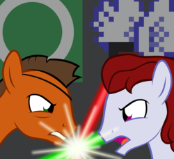 Size: 1800x1638 | Tagged: artist:dtkraus, fight, frown, glare, lightsaber, oc, oc:kirb, oc only, oc:rustback, ponysona, safe, star wars
