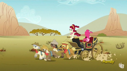 Size: 929x516   Tagged: safe, screencap, caboose, cherry jubilee, evening star, full steam, john bull, pinkie pie, promontory, earth pony, pony, party pooped, blank flank, carriage, discovery family logo, dust, female, male, mare, stallion