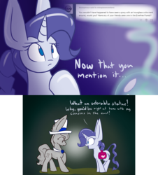 Size: 1000x1104 | Tagged: safe, artist:heir-of-rick, doctor whooves, rarity, time turner, crystal pony, golem, pony, miss pie's monsters, animated in description, clarity, comic, saddle bag, species swap, statue, tumblr, weeping angel