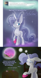 Size: 1050x2000 | Tagged: safe, artist:heir-of-rick, rarity, crystal pony, golem, pony, miss pie's monsters, ask, chest, clarity, comic, dialogue, fabulous, handkerchief, species swap, thought bubble, tumblr