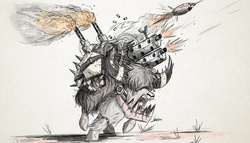 Size: 3500x2000 | Tagged: safe, artist:ncmares, ork, yak, party pooped, crossover, dakka, gun, iron gob, machine gun, more dakka, solo, waaagh!, warhammer (game), warhammer 40k, weapon