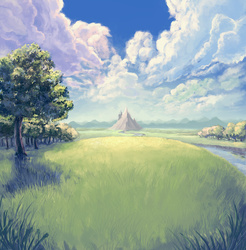 Size: 4500x4568 | Tagged: safe, artist:hunternif, absurd resolution, canterlot, mountain, river, scenery