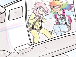 Size: 1600x1200 | Tagged: safe, artist:cartoonlion, fluttershy, rainbow dash, human, air ponyville, clothes, commission, goggles, humanized, jumpsuit, parachute, plane, skydiving