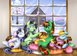 Size: 3509x2550 | Tagged: safe, artist:pridark, oc, oc only, oc:heaven, oc:sony, clothes, scarf, sleeping, snow, winter