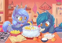 Size: 2500x1750 | Tagged: safe, artist:mav, oc, oc only, oc:panne, oc:speck, bat pony, pony, baking, bat wings, book, bowl, cake, cookbook, cute, ear fluff, ear tufts, egg, eyes on the prize, featured image, female, food, frosting, fruit, high res, hoof hold, icing bag, indoors, kitchen, leaning, licking lips, looking at something, mango, mare, mouth hold, ocbetes, recipe, refrigerator, silly, slit eyes, smiling, standing, stove, sugar (food), tail wrap, tongue out, whisk, wing hands, wings