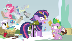 Size: 980x560   Tagged: safe, artist:dm29, bon bon, derpy hooves, dj pon-3, doctor whooves, gilda, lyra heartstrings, octavia melody, pinkie pie, rainbow dash, smooze, spike, sweetie drops, time turner, trouble shoes, twilight sparkle, vinyl scratch, alicorn, griffon, pony, twittermite, appleoosa's most wanted, bloom and gloom, castle sweet castle, make new friends but keep discord, party pooped, princess spike (episode), slice of life (episode), tanks for the memories, the cutie map, the lost treasure of griffonstone, alternate hairstyle, background six, bowtie, box, cardboard box, crossing the memes, crying, female, hat, i didn't listen, i'm pancake, julian yeo's 1000 image, mare, meme, new crown, punklight sparkle, sled, snow, the meme continues, the ride never ends, the story so far of season 5, this isn't even my final form, top hat, twilight scepter, twilight sparkle (alicorn), volumetric mouth