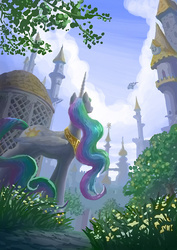 Size: 1240x1754 | Tagged: safe, artist:plainoasis, princess celestia, twilight sparkle, alicorn, pegasus, pony, canterlot, chariot, departure, female, mare, pegasus royal guard, perspective, royal guard, scenery, scenery porn, solo focus