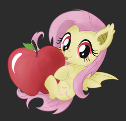 Size: 1807x1743 | Tagged: safe, artist:imoshie, fluttershy, bat pony, pony, :p, apple, chibi, cute, cute little fangs, ear tufts, fangs, female, filly, flutterbat, fruit, gray background, hnnng, hug, licking, looking at you, micro, race swap, shyabates, shyabetes, silly, simple background, smiling, solo, spread wings, tongue out, weapons-grade cute, wings, younger