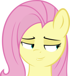 Size: 5263x5701 | Tagged: absurd res, artist:mittsies, artist:slb94, bedroom eyes, fluttershy, safe, simple background, smug, solo, three curious ponies, transparent background, vector