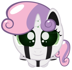 Size: 1146x1114 | Tagged: safe, artist:playah, derpibooru exclusive, sweetie belle, pony, robot, robot pony, unicorn, friendship is witchcraft, cute, diasweetes, female, filly, foal, hooves, horn, looking at you, simple background, smiling, solo, sweetie bot, transparent background