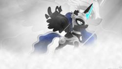 Size: 1920x1080   Tagged: safe, artist:larsurus, artist:mithandir730, princess luna, alicorn, pony, armor, blue, bright, double, female, gray, helmet, mare, ponytail, solo, vector, wallpaper