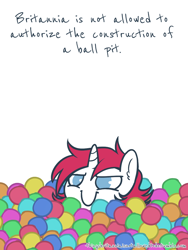 Size: 500x667 | Tagged: artist:taesuga, ball pit, b.u.c.k., b.u.c.k. 2016, cute, dashcon, ear fluff, female, mare, mascot, oc, oc:britannia, oc only, pony, safe, simple background, things britannia is not allowed to do, unicorn, white background