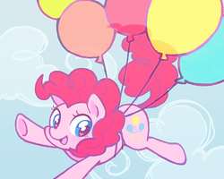 Size: 600x480   Tagged: safe, artist:tsukisayu, pinkie pie, earth pony, pony, balloon, cloud, cloudy, cute, diapinkes, female, floating, heart eyes, mare, sky, solo, then watch her balloons lift her up to the sky, underhoof, wingding eyes