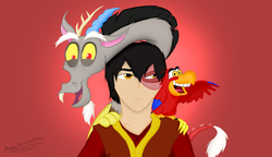 Size: 1024x591 | Tagged: aladdin, artist:megaanimationfan, avatar the last airbender, crossover, discord, disney, iago, it makes sense in context, nickelodeon, reformed, reformed villain, safe, zuko
