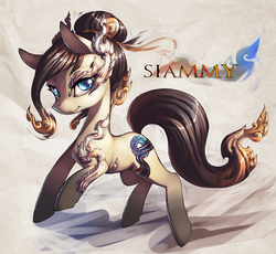 Size: 1400x1289 | Tagged: safe, artist:xennos, oc, oc only, oc:siammy, earth pony, pony, female, looking at you, mare, nation ponies, smiling, solo, tattoo, thailand