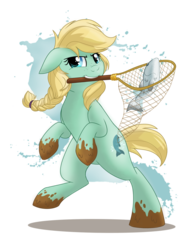 Size: 1440x1980 | Tagged: safe, artist:itstaylor-made, oc, oc only, oc:stream skimmer, fish, mouth hold, net, solo