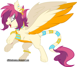 Size: 2489x2173 | Tagged: safe, artist:xwhitedreamsx, oc, oc only, oc:zafarina, pony, sphinx, anklet, bedroom eyes, bipedal, bracelet, commission, ear piercing, earring, fangs, fluffy, jewelry, looking at you, necklace, open mouth, piercing, rearing, simple background, smiling, solo, sphinx oc, spread wings, transparent background