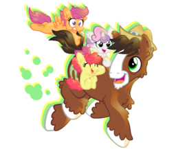 Size: 830x720 | Tagged: safe, artist:snowzahedghog, apple bloom, scootaloo, sweetie belle, trouble shoes, adorabloom, clinging, cute, cutealoo, cutie mark crusaders, diasweetes, fluffy, happy, troublebetes