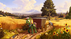 Size: 5400x3000 | Tagged: safe, artist:devinian, fiddlesticks, oc, oc:ever steady, bee, earth pony, pony, absurd resolution, apple family member, au:eqcl, cloud, detailed, dirt, dirt road, female, field, flower, grass, guitar case, hat, house, looking down, male, mare, mountain, scenery, scenery porn, stallion, sunflower, town, tree, unshorn fetlocks, wagon, walking, wheat