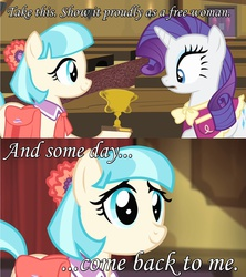 Size: 1273x1431 | Tagged: safe, coco pommel, rarity, rarity takes manehattan, babylon 5, female, lesbian, londo mollari, marshmallow coco, modified quote, quote, shipping, this will end in tears