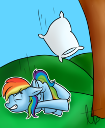Size: 812x984 | Tagged: artist:laptopbrony, crash, falling, nap, pillow, rainbow dash, rainbow dumb, safe, solo, this will end in pain