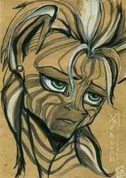 Size: 1732x2439 | Tagged: artist:arainmorn, bust, fallout equestria, fanfic, fanfic art, female, mare, oc, oc only, oc:xenith, portrait, safe, solo, text, traditional art, zebra
