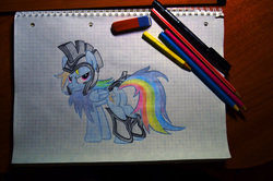 Size: 4928x3264 | Tagged: artist:octavia_synch, artist:ratchethun, rainbow dash, rainbow dash is not amused, redraw, safe, solo, traditional art