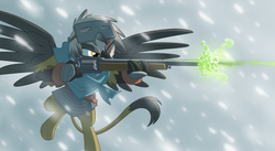 Size: 3100x1700 | Tagged: safe, artist:equestria-prevails, oc, oc only, oc:cassandra, griffon, armor, badass, chainmail, colt root revolver, griffon oc, gun, revolver, rifle, snow goggles, solo, weapon