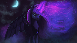 Size: 1920x1080 | Tagged: safe, artist:hierozaki, princess luna, alicorn, pony, cloud, crescent moon, crying, ethereal mane, eyes closed, eyeshadow, female, fog, frown, glowing horn, glowing mane, magic, makeup, mare, moon, night, pretty, sad, sky, solo, spread wings, starry night, stars, windswept mane, wings