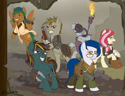 Size: 900x689 | Tagged: safe, artist:floots, oc, oc only, oc:bleeding heart, oc:bowel grinder, oc:bright light, oc:cannonball, oc:desert storm, oc:nitro belle, earth pony, pegasus, pony, fallout equestria, battle saddle, bipedal, bodysuit, cowboy hat, cutie mark, fanfic, fanfic art, female, flamethrower, frown, glare, glasses, grin, gritted teeth, group picture, gun, handgun, hat, hoof hold, hooves, male, mare, medical saddlebag, open mouth, revolver, saddle bag, smirk, stallion, wasteland, weapon, wings
