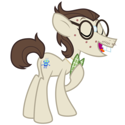 Size: 2500x2500 | Tagged: safe, artist:cheezedoodle96, gizmo, earth pony, pony, .svg available, acne, bowtie, bucktooth, eyes closed, facial hair, glasses, hoof on chest, male, moustache, simple background, solo, stallion, svg, transparent background, vector
