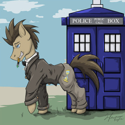 Size: 743x743 | Tagged: safe, artist:kibugamikenzo, doctor whooves, time turner, pony, clothes, crossover, doctor who, male, mouth hold, solo, stallion, tardis