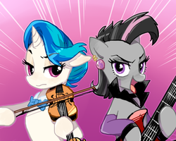 Size: 500x400 | Tagged: dead source, safe, artist:baekgup, dj pon-3, octavia melody, vinyl scratch, earth pony, pony, unicorn, alternate hairstyle, bedroom eyes, bow, bowtie, ear piercing, electric guitar, female, guitar, looking at you, mare, mirror universe, piercing, rocktavia, tongue out, vinyl class, violin