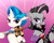 Size: 500x400   Tagged: dead source, safe, artist:baekgup, dj pon-3, octavia melody, vinyl scratch, earth pony, pony, unicorn, alternate hairstyle, bedroom eyes, bow, bowtie, ear piercing, electric guitar, female, guitar, looking at you, mare, mirror universe, musical instrument, piercing, rocktavia, role reversal, tongue out, vinyl class, violin