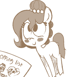 Size: 600x600 | Tagged: safe, artist:whydomenhavenipples, oc, oc only, oc:brownie bun, blushing, cute, domestic, hair bun, looking up, married couple, monochrome, ocbetes, shopping list