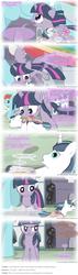 Size: 1280x4506 | Tagged: safe, artist:pegachess, discord, rainbow dash, shining armor, twilight sparkle, alicorn, pony, ask the resized ponies, female, giant pony, giantess, macro, mare, shadow, twilight sparkle (alicorn)