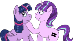 Size: 832x473 | Tagged: safe, artist:stockingstreams, starlight glimmer, twilight sparkle, alicorn, pony, the cutie map, 3:, bedroom eyes, blushing, female, frown, hoof on chin, lesbian, looking away, mare, shipping, simple background, smiling, transparent background, twilight sparkle (alicorn), twistarlight, wavy mouth