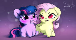 Size: 2469x1299   Tagged: safe, artist:sverre93, fluttershy, twilight sparkle, pegasus, pony, unicorn, :3, biting, blushing, chest fluff, cute, cute little fangs, ear fluff, fangs, female, filly, floppy ears, fluffy, flutterbat, frown, gradient background, hair bite, hnnng, leg fluff, mare, open mouth, race swap, shyabates, shyabetes, sitting, smiling, sverre is trying to murder us, twiabetes, unamused, underhoof, weapons-grade cute