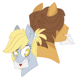 Size: 955x957 | Tagged: safe, artist:dbkit, derpy hooves, hoops, pegasus, pony, alternate hairstyle, blush sticker, blushing, bust, ditzyhoops, female, letter, mare, pen pals