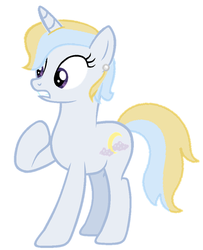 Size: 578x712 | Tagged: dead source, safe, artist:matbenetti17, oc, oc only, oc:azure moon, pony, unicorn, ear piercing, earring, offspring, parent:prince blueblood, parent:trixie, parents:bluetrix, piercing, solo
