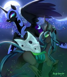 Size: 2000x2300   Tagged: safe, artist:rocy canvas, nightmare moon, queen chrysalis, alicorn, changeling, changeling queen, pony, bedroom eyes, bugbutt, butt, chrysmoon, female, flying, glowing eyes, grin, lesbian, moon, night, open mouth, plot, raised hoof, raised leg, shipping, smiling, spread wings