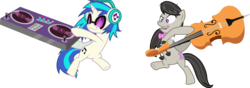 Size: 13544x4774 | Tagged: safe, artist:masem, dj pon-3, octavia melody, vinyl scratch, earth pony, pony, unicorn, slice of life (episode), .ai available, absurd resolution, bowtie, cello, cutie mark, female, headphones, hooves, horn, mare, mixing console, musical instrument, open mouth, simple background, sunglasses, teeth, transparent background, turntable, vector