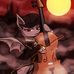 Size: 750x750   Tagged: safe, artist:lumineko, octavia melody, bat pony, pony, vampire, vampony, 30 minute art challenge, bat ponified, batavia, cello, clothes, earring, fangs, frown, glare, hoof hold, looking at you, musical instrument, piercing, race swap, solo, spread wings