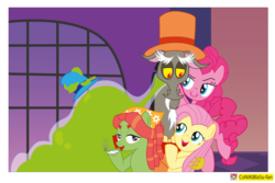Size: 2370x1579 | Tagged: safe, artist:conikiblasu-fan, discord, fluttershy, pinkie pie, smooze, tree hugger, make new friends but keep discord, discopie, discord gets all the mares, discoshy, female, harem, joint, male, shipping, smoking, smoozcord, straight, treecord, treecordshy