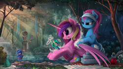 Size: 2800x1576 | Tagged: safe, artist:yakovlev-vad, lotus blossom, princess cadance, princess celestia, princess luna, twilight sparkle, alicorn, duck pony, earth pony, pony, angry, bath, bathing, bottle, butler, crepuscular rays, cute, cutedance, detailed, female, fluffy, glasses, grin, help me, hoof hold, hot springs, inanimate tf, lidded eyes, mare, outdoors, pond, rubber duck, scenery porn, sitting, smiling, soap, spa, spread wings, squeak, squee, steam, swanlestia, swanlight sparkle, swanluna, sweatdrop, transformation, tree, water, wavy mouth, wet, wet mane, what has magic done, what has science done, wide eyes